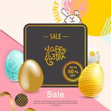 Blue, gold, yellow, realistic Easter eggs on yellow pink abstract background. Minimalism.. Sale banner. Blue, gold, yellow, realistic Easter eggs on yellow pink Stock Photos
