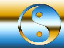 Blue and Gold Yin Yang Symbol Royalty Free Stock Photography
