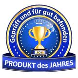 Best product on the market - blue and golden award ribbon designed for the German retail market. Blue and golden award badge with text in German. Text stock illustration