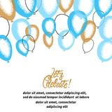 Blue and golden balloons. Vector celebration background. Party poster Royalty Free Illustration