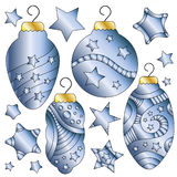 Blue and golden baubles Stock Photos