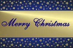 Blue & Golden Christmas Card Royalty Free Stock Photo