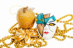 Blue and golden holiday mask with decorations Royalty Free Stock Image