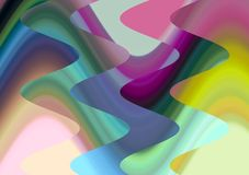 Blue purple yellow waves geometries abstract background, abstract forms and geometries. Blue golden pink yellow waves shapes, sparkling abstract background stock illustration