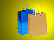 Blue and golden shopping bag. Stock Images
