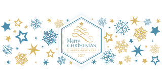 Blue golden snowflake border with Merry Christmas typography. Border design with snow flakes and stars and in the middle a hexagon with a stylized Christmas tree stock illustration