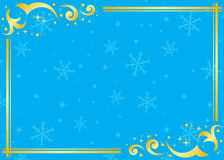 Blue and golden vector frame with snowflakes. Vector blue and golden frame with snowflakes royalty free illustration