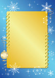 Blue and golden vector frame with snowflakes Royalty Free Stock Photos