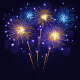 Blue golden yellow vector fireworks. Golden yellow blue vector fireworks over night sky.  4th of July Independence Day, New Year holidays background Royalty Free Stock Photos