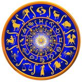 Blue and golden zodiac disk. A detailed view of a bright blue zodiac disk with golden figures and decorative designs vector illustration