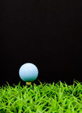 Blue Golf Ball on Tee. In Grass with Space for Text Royalty Free Stock Photos