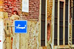 Blue Gondola cannel sign in Venice. Italy stock photos