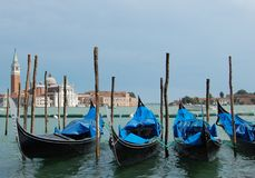 Blue gondols in Venice. June 2009 Royalty Free Stock Images