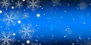 Blue gradient background with snowflakes. Blue gradient background with snowflakes banner stock illustration