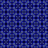 Blue gradient on black ornamental scroll seamless repeat pattern background stock illustration