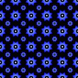 Blue gradient on black with two different sized stars with squares and circles seamless repeat pattern background. Two colour of two different sized stars with Royalty Free Stock Photos