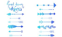 Blue Gradient handdrawn arrows set, little blue heart. Vector illustration indian style ornament. Brush hand drawn text dividers stock illustration