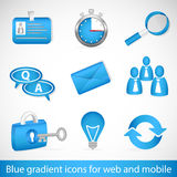Blue gradient icons for web applications and mobile devices Royalty Free Stock Photography