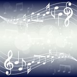 Blue gradient music background illustration. Curved stave with music notes background. vector illustration