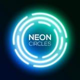 Shining round techno circles. Night club sign. Blue gradient neon light banner. Shining round techno circles. Night club electric bright 3d sign board design on Royalty Free Stock Photo