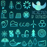 Blue gradient outline eco icons. 25 blue gradient outline eco icons stock illustration