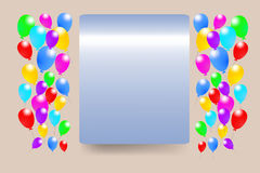 Blue gradient rectangle with baloons Stock Images