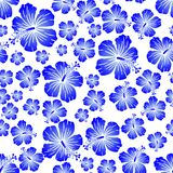 Blue gradient on white random hibiscus flower seamless repeat pattern background. Two colour random hibiscus flower seamless repeat pattern background. Could be Royalty Free Stock Photos