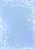 Blue gradient winter paper background with snowflake border Royalty Free Stock Photos