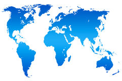 Blue gradient world map,  Royalty Free Stock Images
