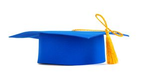 Blue graduation cap with gold tassel Stock Photography