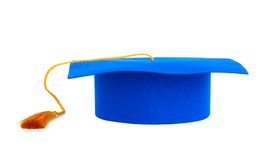 Blue graduation cap with gold tassel Stock Photo