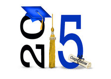 Blue graduation cap for 2015. Blue graduation hat with gold tassel and diploma for class of 2015 Stock Photos