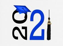Blue 2021 graduation cap with tassel