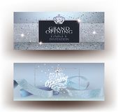 Blue grand opening party invitation cards with sparkling dust, frame and ribbon. Vector illustration Royalty Free Stock Photography
