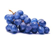 Blue grape. Bunch of fresh berries on white background Stock Photo