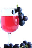 Blue grape cluster and red wine Stock Photo
