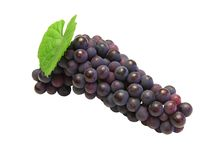 Blue grape with green leaf Royalty Free Stock Images