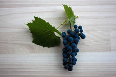 Blue grapes on beige floor with two leaves Royalty Free Stock Photography