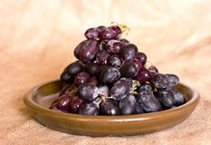 Blue grapes on a clay brown dish. Blue grapes on the clay brown dish Royalty Free Stock Photos