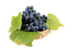 Blue grapes with green leaf Royalty Free Stock Photo