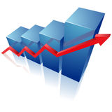 Blue graph. Clipart illustration on white Stock Photos