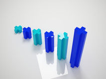 Blue graph. 3ds max business graph for marketing vector illustration