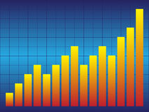 Blue Graph. Illustration of blue graph with red and yellow bars Stock Photography