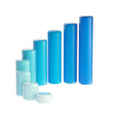 Blue graph bar dimensional, glossy, isolated Royalty Free Stock Photos