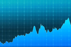 Blue graph demonstrating growth, fluctuations, concept of analys Royalty Free Stock Photos
