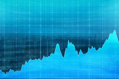 Blue graph demonstrating growth, fluctuations, concept of analys Royalty Free Stock Photo