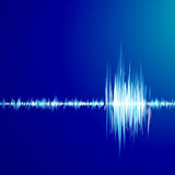 Blue graph of sound. Absctract blue background with graph of sound Stock Images