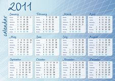 Blue graphic all-months calendar Royalty Free Stock Image
