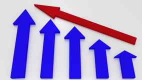 Blue graphic arrows pointing up and a red arrow shows growth on Stock Photo