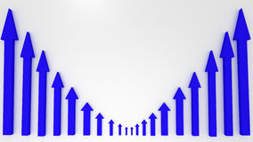 Blue graphic arrows pointing up on white background. Financial c Royalty Free Stock Image